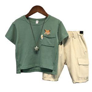 Hot Baby Boys Clothing Sets Brand Cartoon fox Children Summer Boys Girl Clothes Kids Set Cotton T-shit + Short Pants(China)