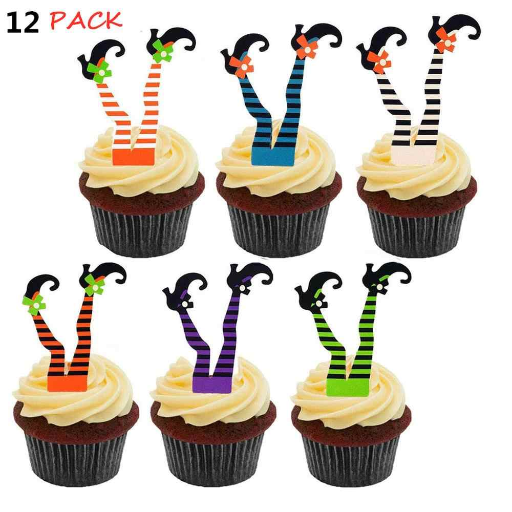 12 pack Halloween Witch's Boot Paper Cupcake Toppers Party Decorations Kit - Witch Boot Legs Cupcake Topper Wrapper Liners, Wit
