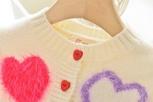 Image 4 - Пальто для девочек с надписью LOVE DD & MM новая осенняя одежда для детей 2020 милый однобортный мягкий вязаный кардиган с длинными рукавами для девочек, свитер
