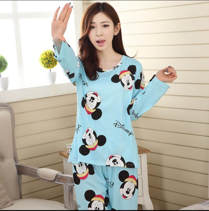 Wholesale Pajamas Sets Spring Autumn 22 Style Thin Carton Generation Women Long Sleepwear Suit Home Women Gift Female Sleepwear 29