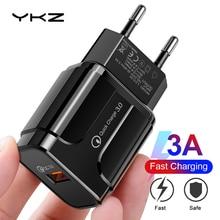 Cargador USB YKZ, cargador de teléfono móvil cargador rápido QC3.0 18W cargador de pared ee.uu. Para iPhone Samsung Xiaomi adaptador de teléfono Huawei