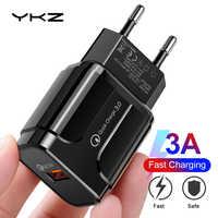 Chargeur USB YKZ, chargeur de téléphone portable 18W QC3.0 chargeur mural ue pour iPhone Samsung Xiaomi Huawei adaptateur de téléphone