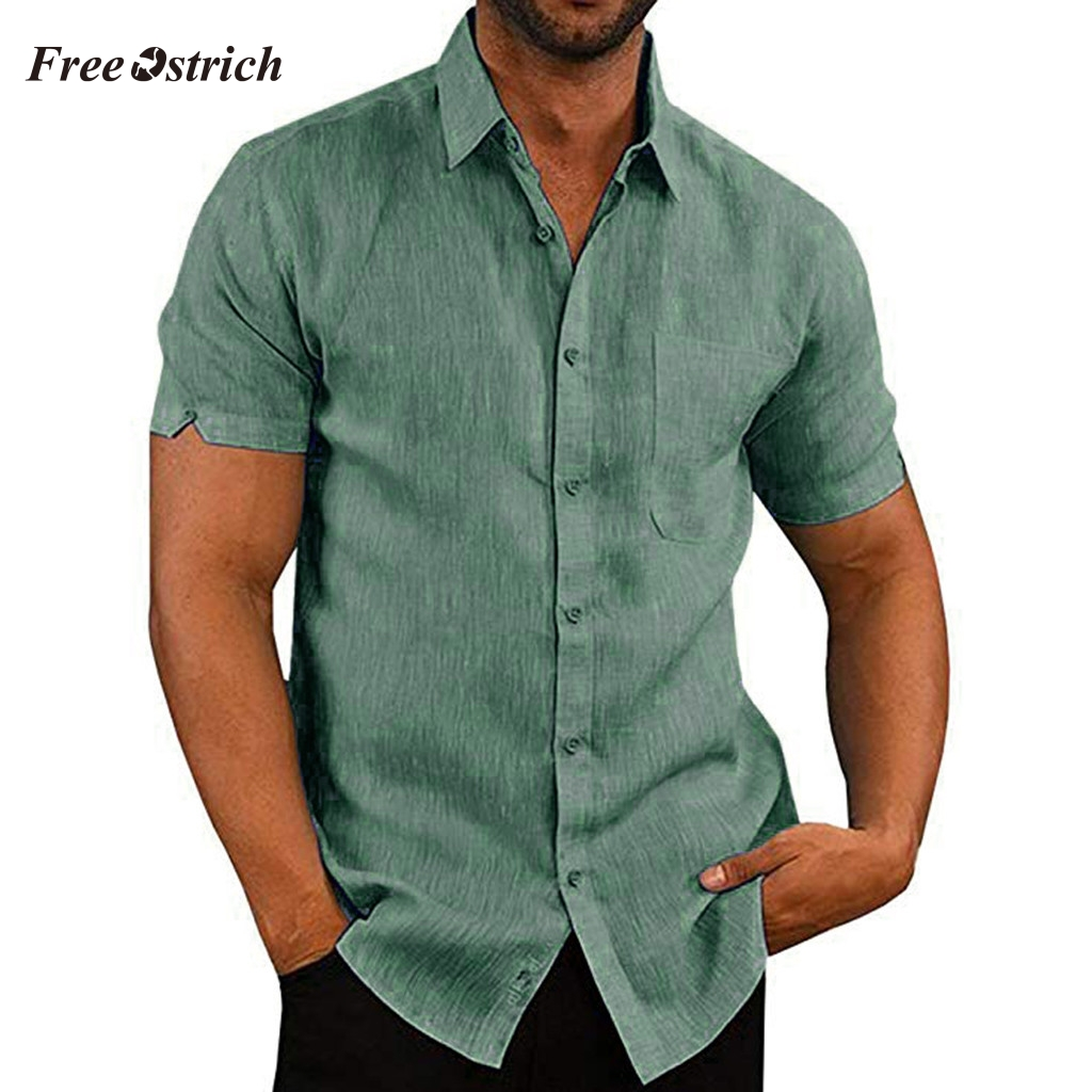 Free Ostrich Handsome Shirts Men Summer Casual Slim Fit Short Sleeve Pockets Shirts Tops High Quality Blouse 91128
