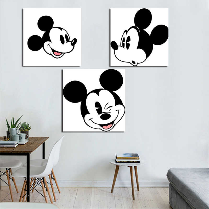 Prints Schilderen Modulaire Foto 1 Panel Wit Zwart Mickey Mouse Canvas Wall Art Home Decoratie Moderne Voor Kids Poster Frame