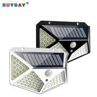 100 lámpara Solar LED con Sensor de movimiento, luces de pared para decoración de jardín, iluminación exterior con energía Solar IP65 impermeable