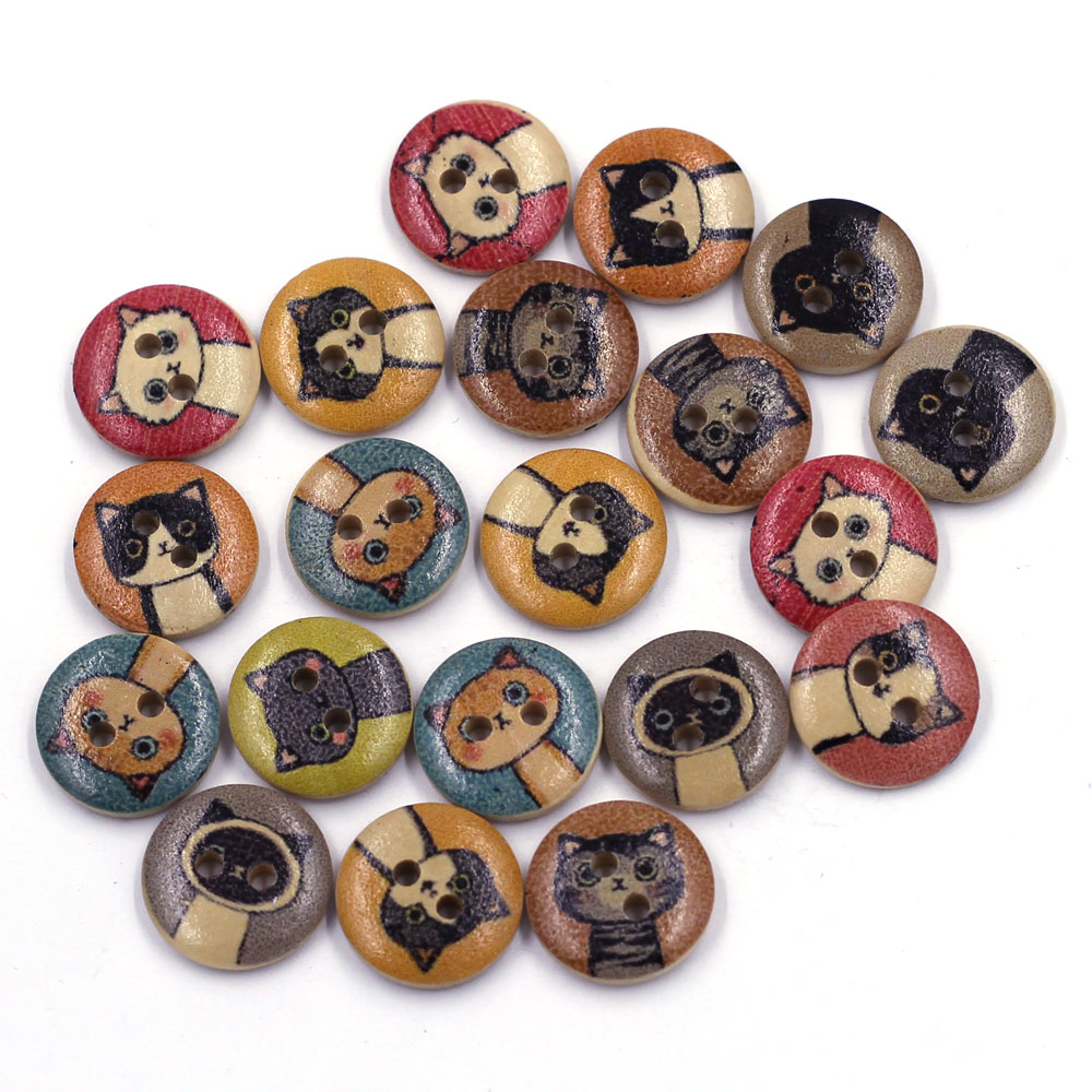 20pcs Wooden Buttons Cat Animal Patterns Round 2 Holes Wood Sewing Scrapbook Accessories 15mm
