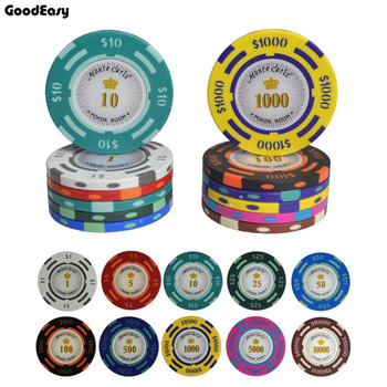 25 sztuk partia texas hold #8217 em Clay Poker Chips Baccarat ekskluzywny zestaw 14g kolor korona Monte Carlo dallors kasyno poker #8230 tanie i dobre opinie PC-DO Gliny High Quality Clay and inner metal 40mm*3 3mm about 14g a piece 1 5 10 25 50 100 500 1000 5000 10000 White Red Light green Green Light Blue Black Blue Yellow Pink Brown