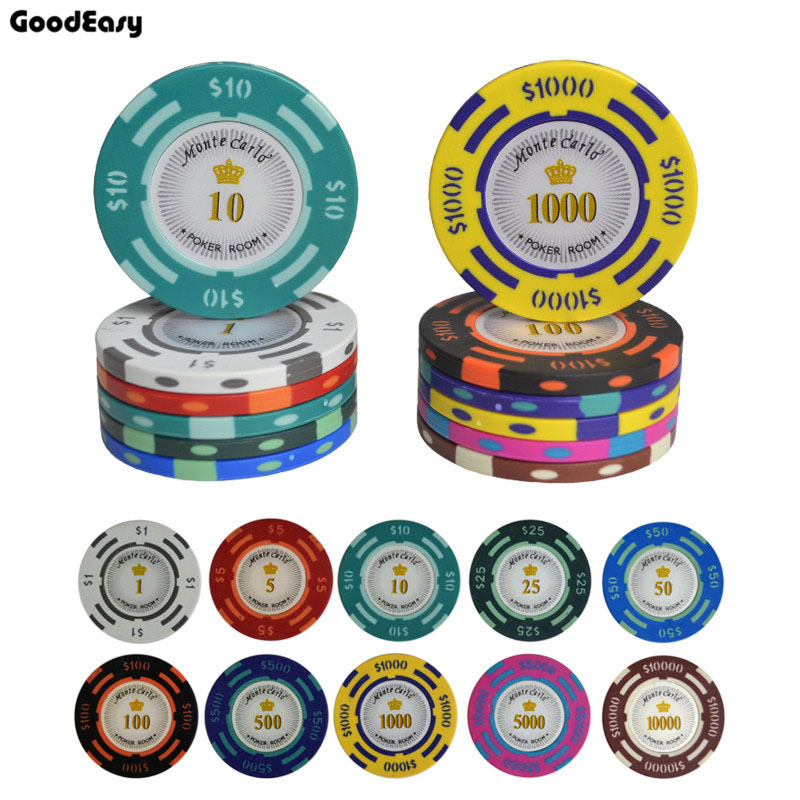 25PCS/Lot Texas Hold'em Clay Poker Chips Baccarat Upscale Set 14g Color Crown Monte Carlo Dallors Casino Poker Chip Set Poker