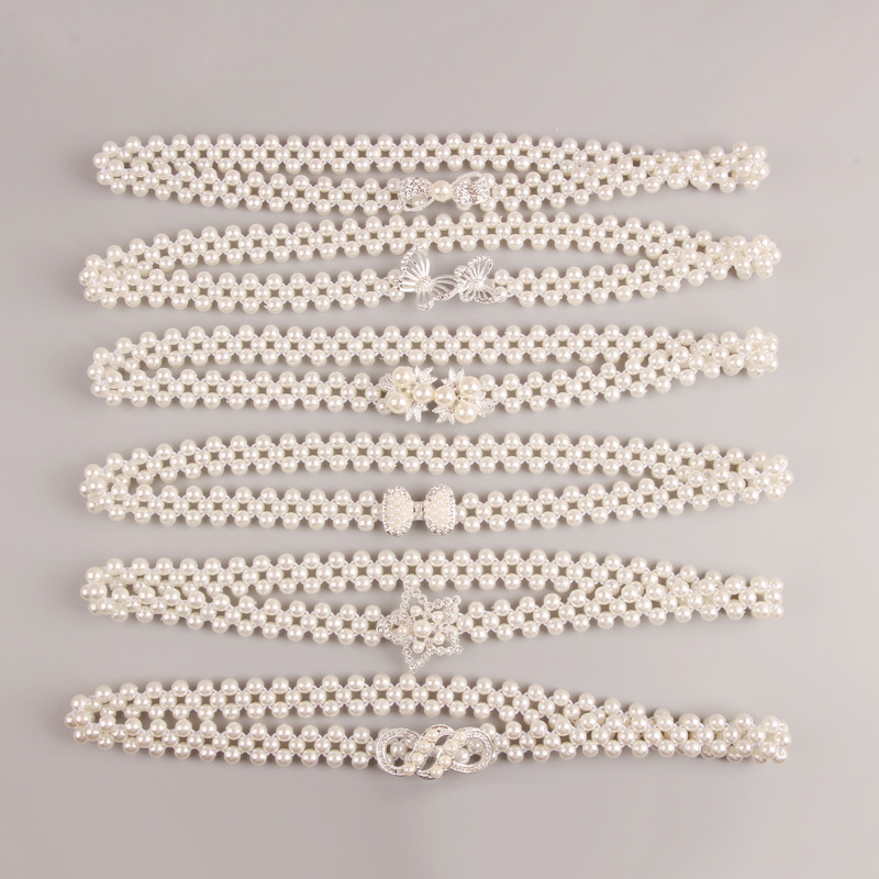 Elegant Flower Elastic Buckle Belt Women Pearl Crystal Belts Female Crystal Waist Chain Cummerbunds Girl Strap Waistband Gift