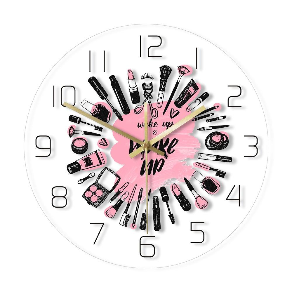Wake Up & Make Up Cosmetics Collection Modern Wall Clock Beauty Salon Business Wall Sign Make Up Set Silent Movement Wall Clock