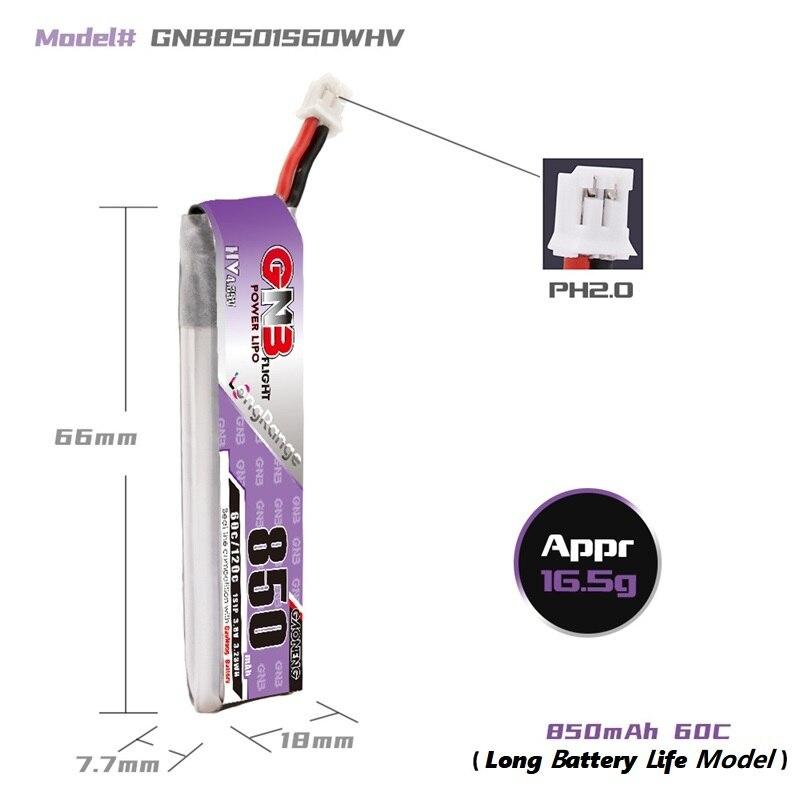 Gaoneng GNB 1S 3.8V HV 850mAh 60C Lipo PH2.0
