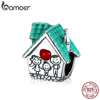 bamoer 925 Sterling Silver Happy Family Sweet House Metal Beads for Women Original 3mm Bracelet DIY Jewelry SCC1518 - discount item  46% OFF Fine Jewelry