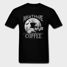 Carino Nightmare Before Caffè di Halloween Divertente Tazza di Regalo di colore Nero Navy T-Shirt(China)