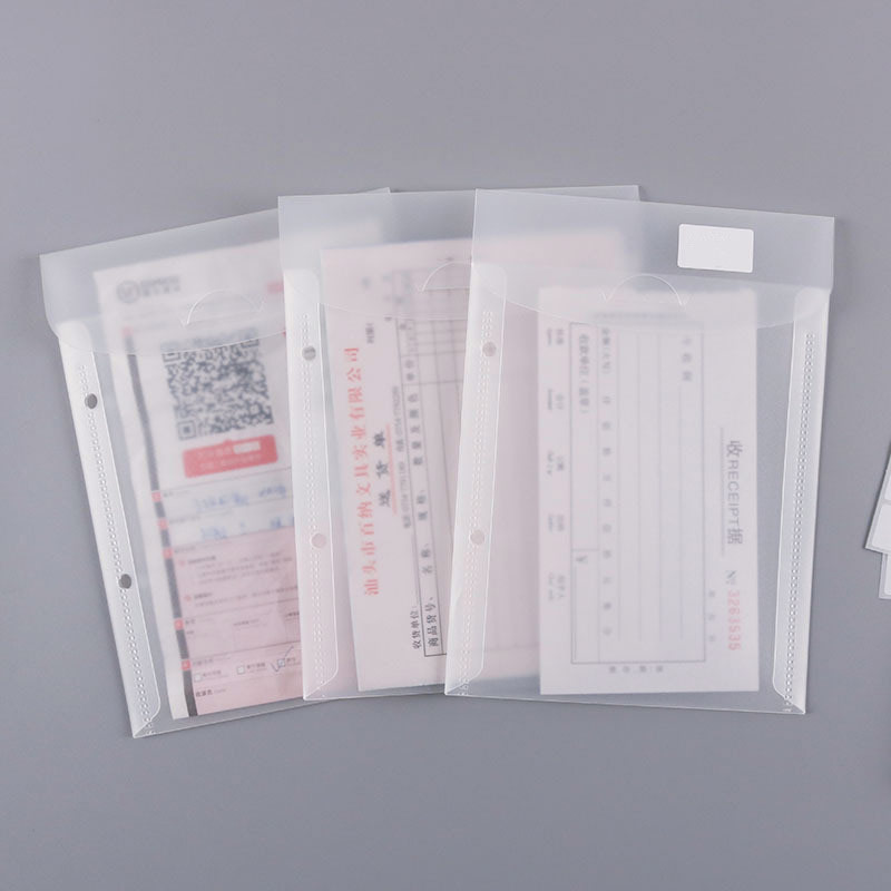 5pcs Transparent A5 Folder File Bag 2 Hole Plastic Document Bag Loose-leaf Paper Storage Binder Inner Page Office School Supply