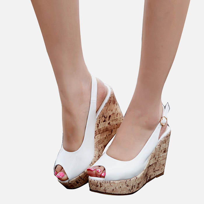 LIHUAMAO Peep toe wedges sandals for
