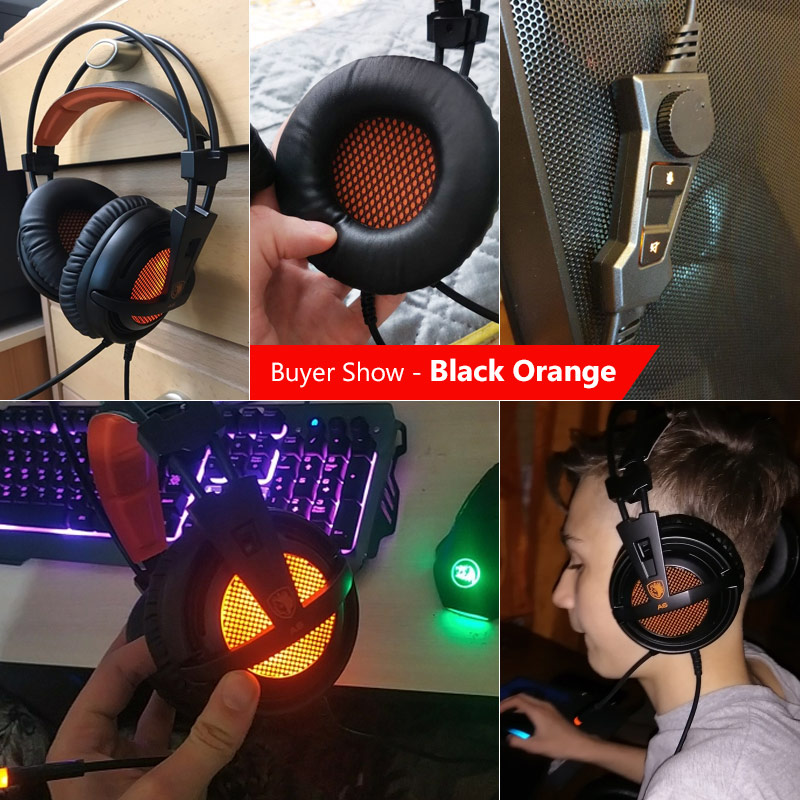 Sades A6 Gaming Headset Gamer Headphones 7.1 Surround Sound Stereo Earphones USB Microphone Breathing LED Light PC Gamer 4
