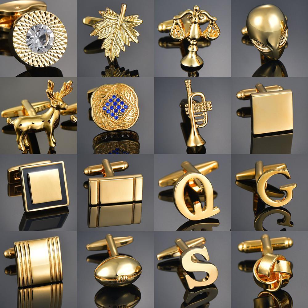 Качественные золотые запонки с буквами/Alien/Square/Dragon/Maple leaves/Balance/Name запонки для мужских французских бутонов