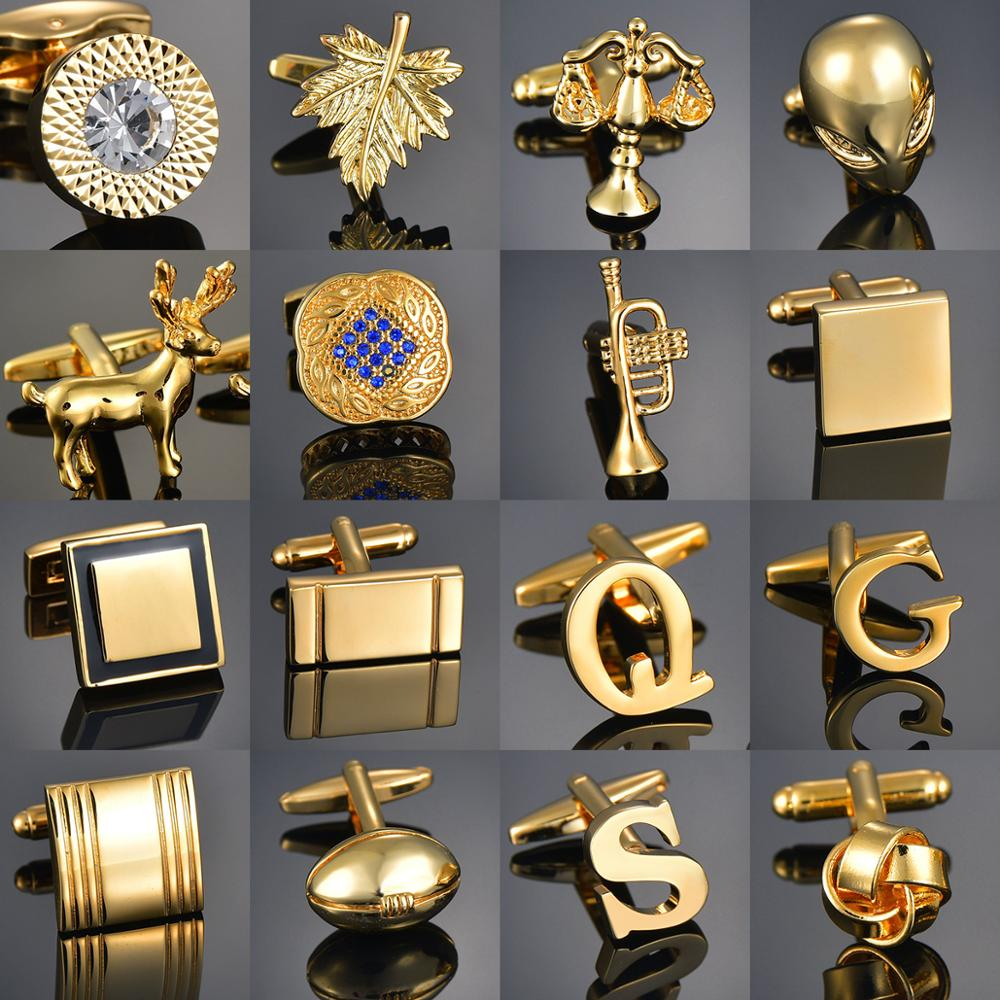 Quality Gold Color Cufflinks Letters/Alien/Square/Dragon/Maple leaves/Balance/Name Cuff Links for mens French bouton manchette(China)