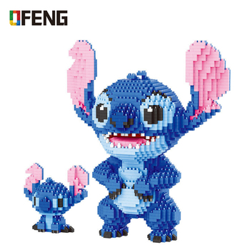 Cartoon Building Bricks Stitch Auction Figures Model Educational Toys Anime Juguetes Girls Gifts for Children Building Blocks hc magic diamond building blocks bricks cartoon money pot pikachu anmie build blocks educational toys for boys girls children