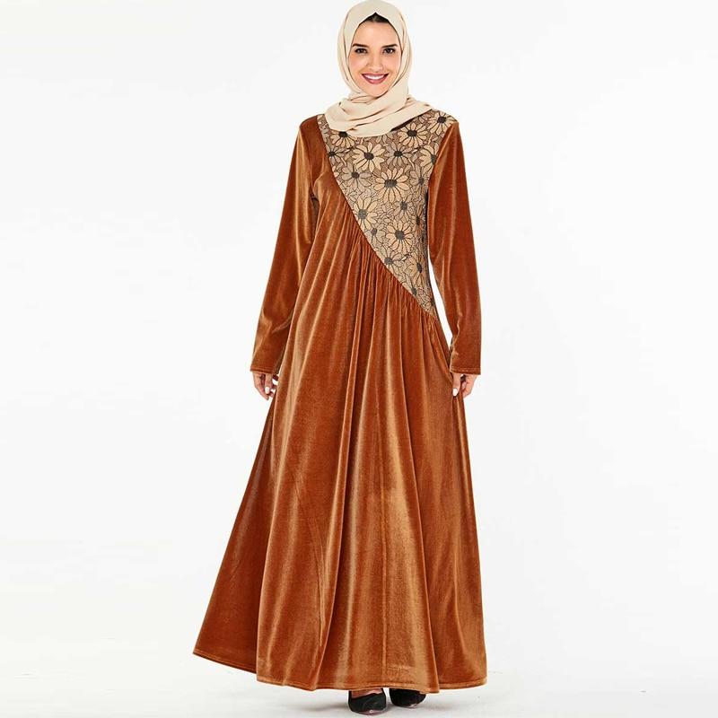 Winter Velvet Abaya Dubai Hijab Muslim Dress Turkish Dresses Islam Clothing Abayas For Women Caftan Kaftan Robe Musulman Turque