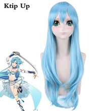 Sword Art Online Yuuki Asuna  Wigs Braided Blue Styled Synthetic Hair Yuki Asuna Anime Costume Cosplay Wig Perucas + Wig Cap cosplay 22 23cm sword art online yuuki asuna cos water blue wig 1 3 bjd sd dd doll wig