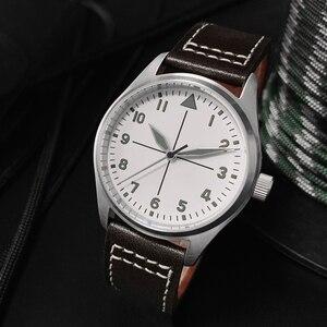Image 2 - サンマーティンパイロットファッションシンプルな腕時計ビジネスホワイトダイヤル自動メンズ機械式時計革 200 メートル防水発光