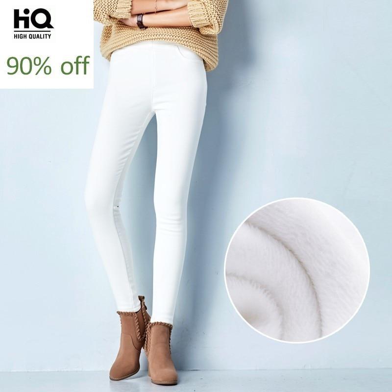 High Waist Elastic Waist White Jeans Woman Winter Thick Slim Stretch Denim Pencil Pants Plus Size Fashion Office Work Trousers