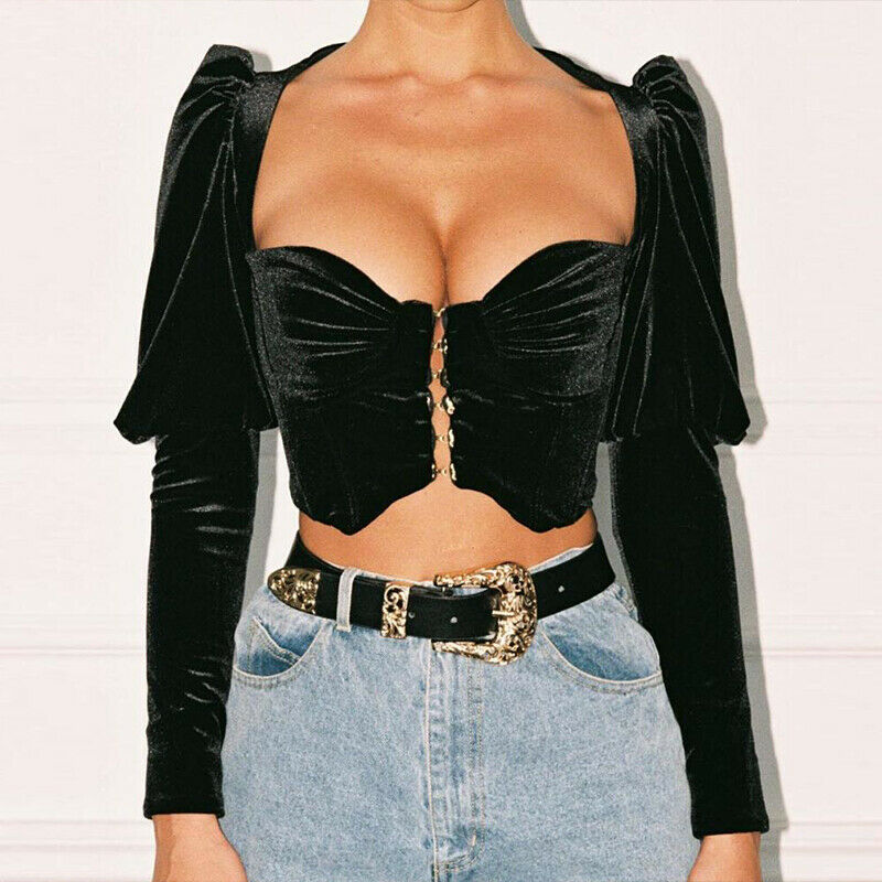 2020 Newest Hot Women Puff Long Sleeve Crop Tops T-<font><b>shirt</b></font> Solid Square Neck <font><b>Push</b></font> <font><b>Up</b></font> Bandage Bustier Female Sexy Party Clubwear image