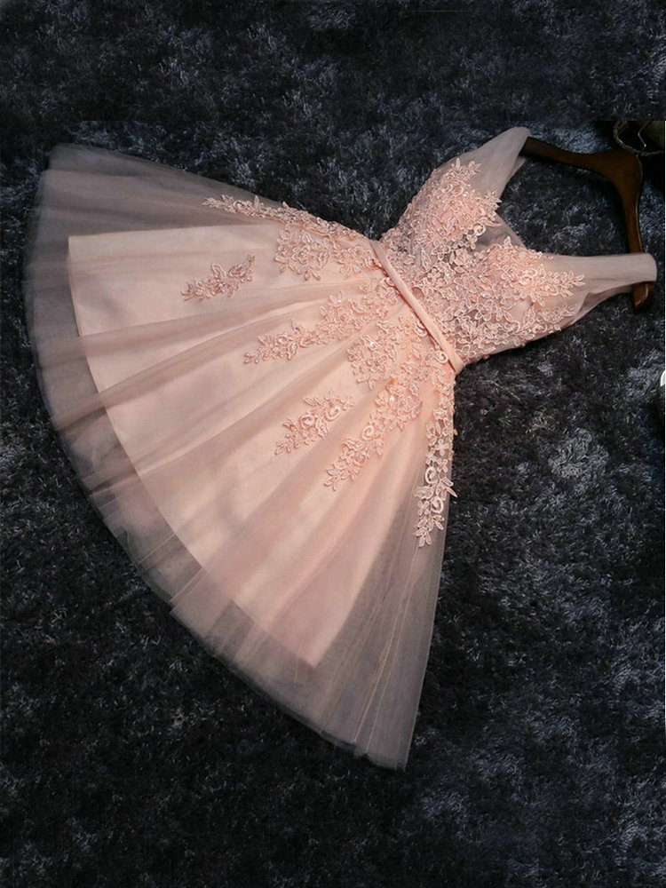 Prom-Dresses Party-Gowns Lace-Up Appliques Pearl Graduation Knee-Length Elegant Pink