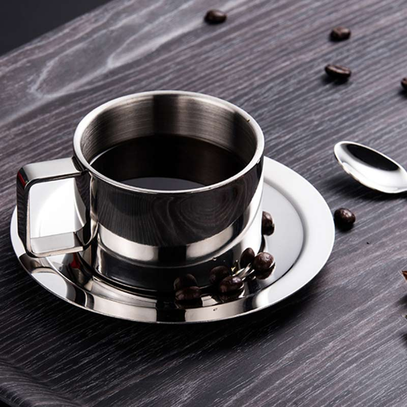 200ml Stainless Steel Espresso Coffee Cup Saucer Spoon Set 304 Double Wall Heat Insulation Milk Coffee Mug Drinkware Dropshippin