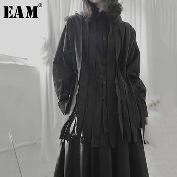 [EAM] Women Black Ribbon Split Big Size Blouse New Lapel Long Sleeve Loose Fit Shirt Fashion Tide Spring Autumn 2020 1T701