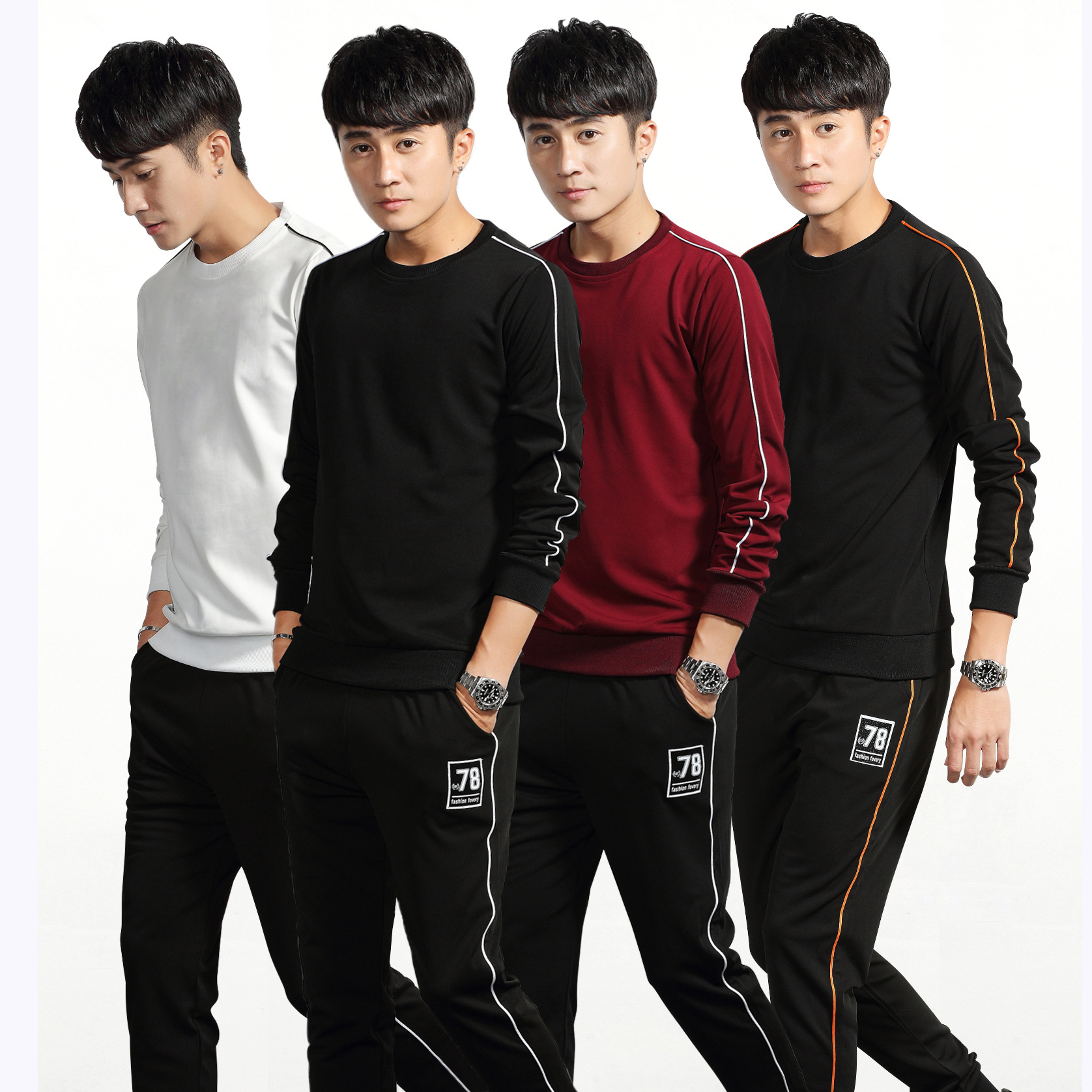 New Products Spring And Autumn Men Outdoor Sports Casual Set Men's Running Training Hoodie Suit Men's Baseball