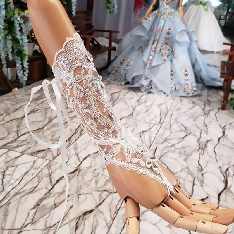 JANCEMBER זול נשים ללא אצבעות כלה כפפות אלגנטי ריינסטון לבן חתונה כפפת תחרה חתונה אביזרי accesorios בודהה