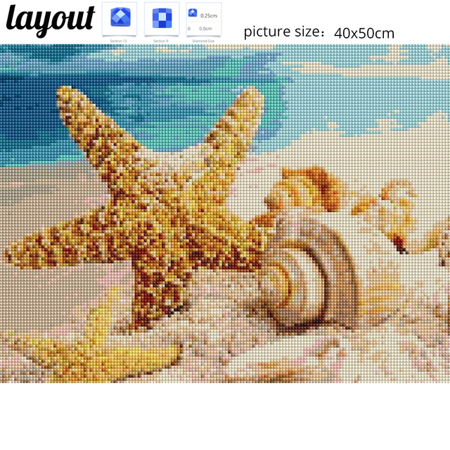 Huacan Diamond Painting Cross Stitch Sea Shell Starfish Scenery Home Decor Full Rhinestone Mosaic 5D Diamond
