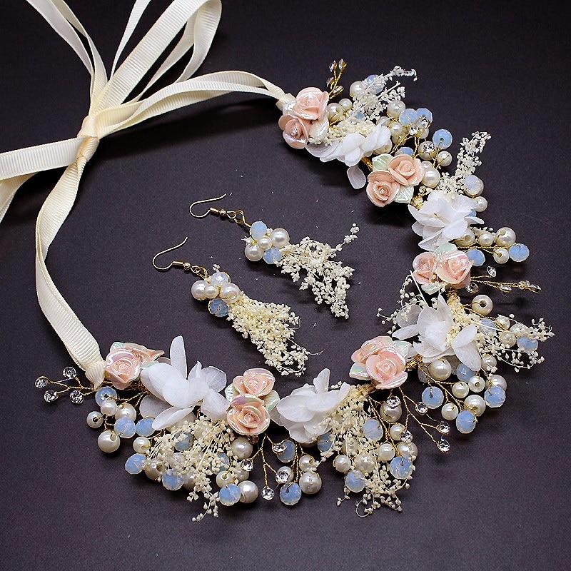 1 set Luksuzni kristalni pribor za vjenčanje za kosu mladenkani cvijet Cvijet djeveruša Headdress Biserna traka za glavu mladenka