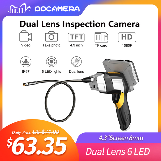 """Portable Dual Lens Handheld Endoscope 4.3""""Screen Inspection Camera with 6 LED 8mm Industrial Digital Endoscopy With 32GB TF Card"""