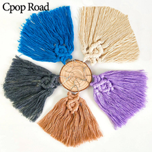 Cpop New Boho Trendy Handmade Weave Macrame Earring Feather Fringe Long Tassel Statement Earrings Bridesmaid Jewelry Accessories