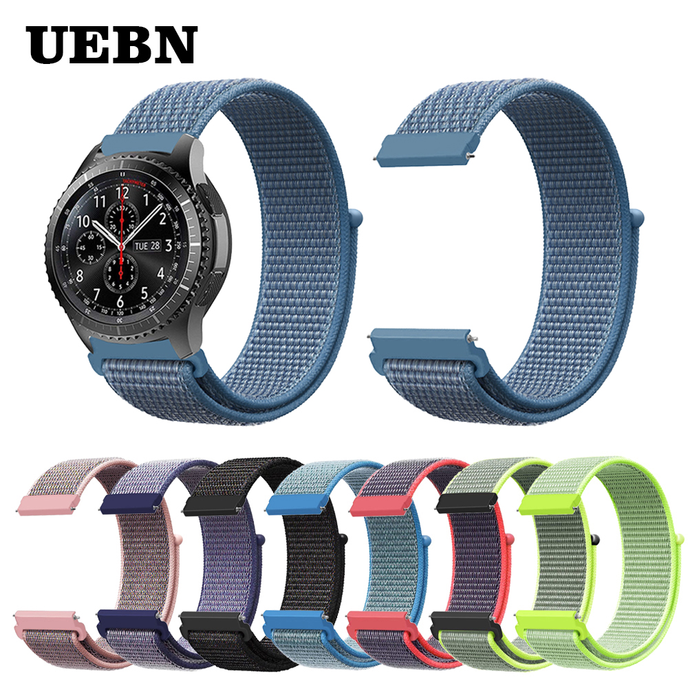 UEBN 20mm 22mm Nylon Sport Loop Strap Replacement Band For Garmin Vivoactive 3 Samsung Gear S2 S3 Galaxy Watch Active Watchbands