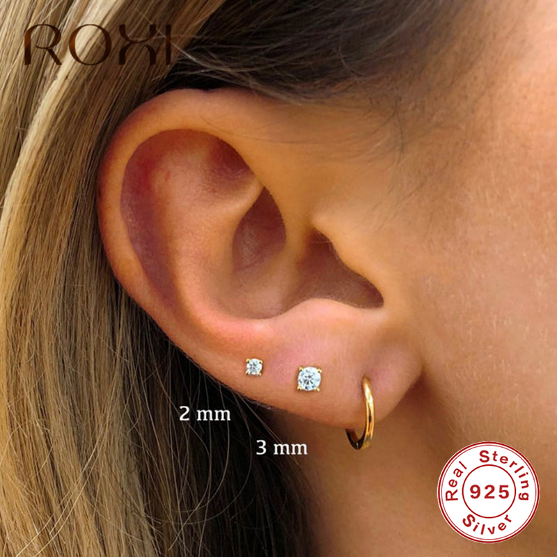 ROXI 100% 925 Sterling Silver Clear CZ Small Stud Earrings For Women Jewelry Mini Ear Bone 2mm 3mm Four Claws Zircon Ear Studs