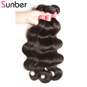 Image 4 - SUNBER HAIR Peruvian Body Wave Human Hair Bundles Can Be Dyed Natural  High Ratio Remy  Hair 3pcs/lot Double Weft Free Shipping