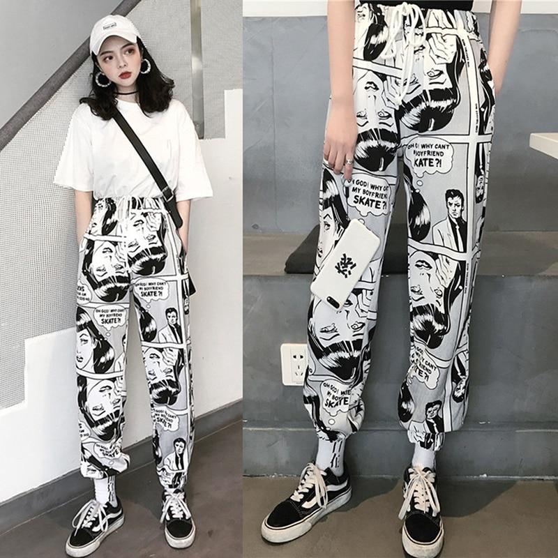 Womens Comic Printed Casual Loose Hip Hop Harajuku Sport Pants Streetwear