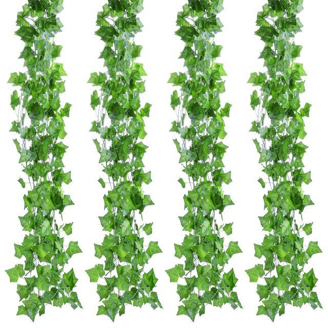 12pcs 2M Ivy green Fake Leaves Garland Plant Vine Foliage Home Decor Plastic Rattan string Wall Decor Artificial Plants 4