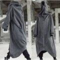 Длинное пальто Nazgul унисекс с капюшоном и длинными рукавами, флисовая толстовка с застежкой-молнией и подкладкой A66