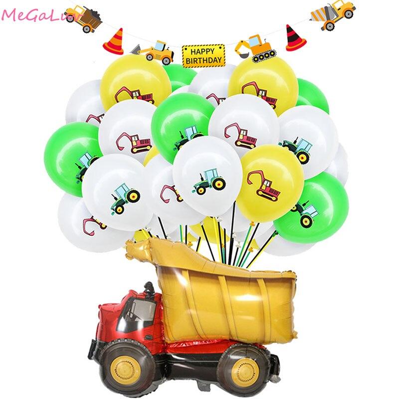 12 pouces Construction pelle Latex ballon tracteur véhicule balle jouets pour garçons faveurs fête danniversaire décor bébé douche Globos