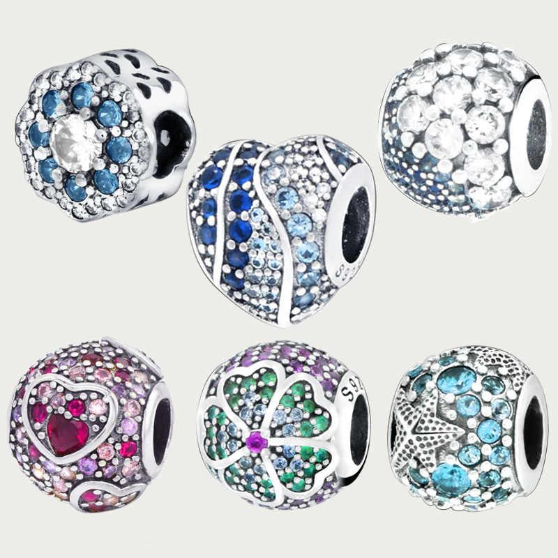 Inverno 925 prata esterlina múltipla cor cz oceano amor coração contas encantos caber original pandora pulseiras feminino jóias diy