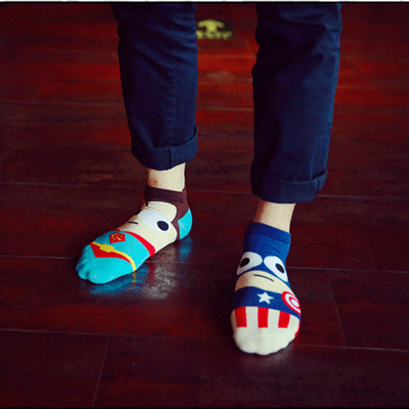 Underwear ... Men's Socks ... 32803207314 ... 2 ... 36-43 Summer Men Harajuku Socks Hip Hop Ninja Batman Superman SpiderMan Captain America Avengers Short Novelty Sokken D129 ...