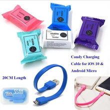 1 Pcs Cute Candy Packing Data Cable USB 2.0 Protable Fast Charging cable USB Cable For All Android System Phone 5 Colors(China)