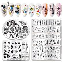 Nacido bastante línea imagen de flor sello placas hoja Floral Plantilla de estampado para manicura de plantilla de imagen herramienta para Diseño de uñas