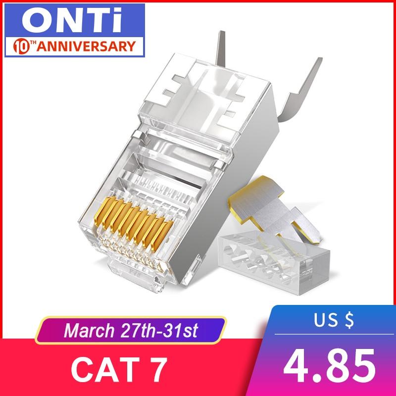 RJ45 Connector Network Cable Connector 10/50/100pcs Cat6a Cat7 RJ45 Plug Shielded FTP 8P8C Network Crimp Connectors