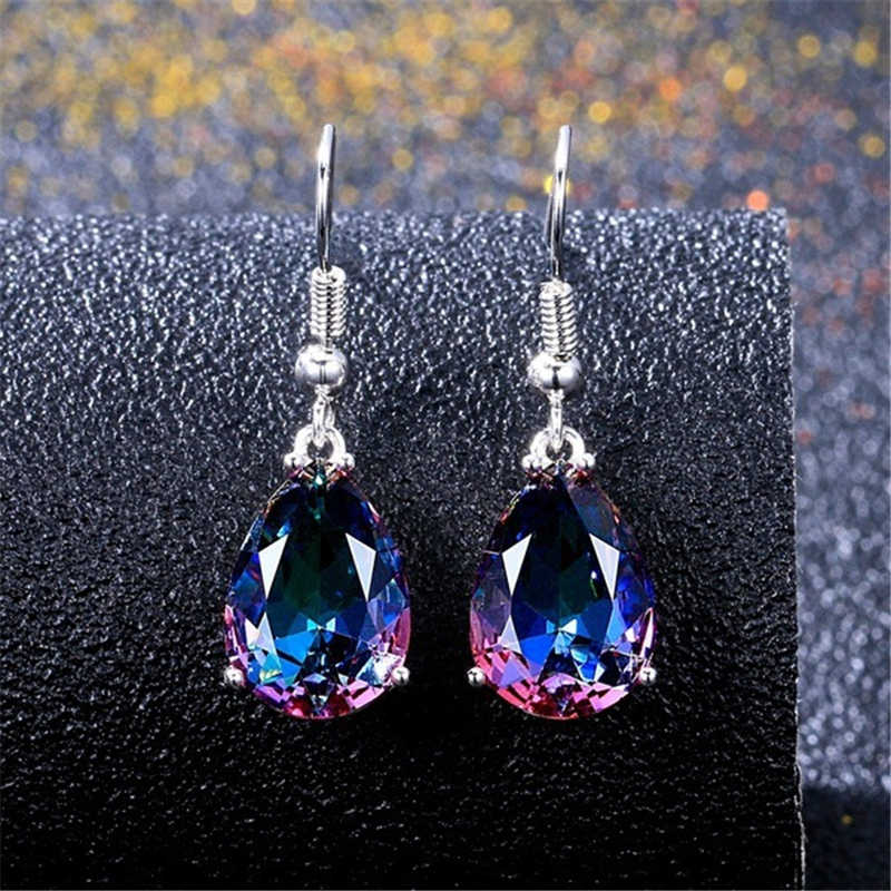 Colorful Droplets Earrings Sliver S925 Rainbow Drop Earrings Obsidian Jade Bizuteria Amethyst Gemstones for Women orecchini